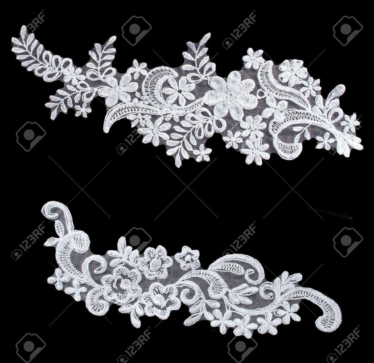 luxury wedding flower lace set  isolated on black background Stock Photo - 10214677