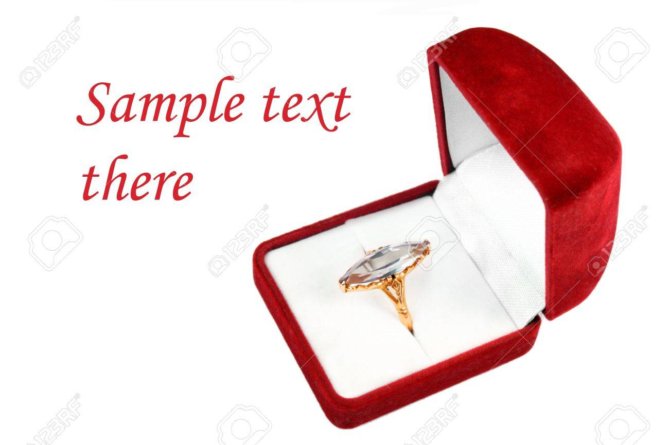 postcard template ring with big stone in a red box isolated over white Stock Photo - 12121278