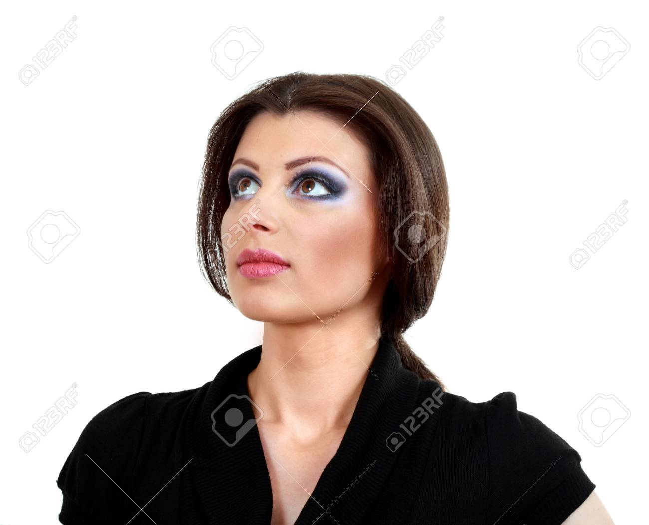beautiful brunette woman with bright eye make-up - on white background Stock Photo - 13876335