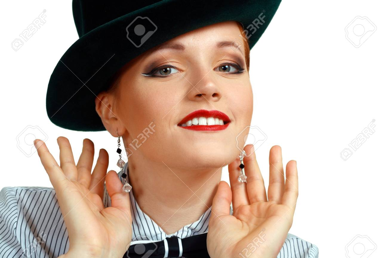 Portrait of beautiful young women in hat close up Stock Photo - 13876503