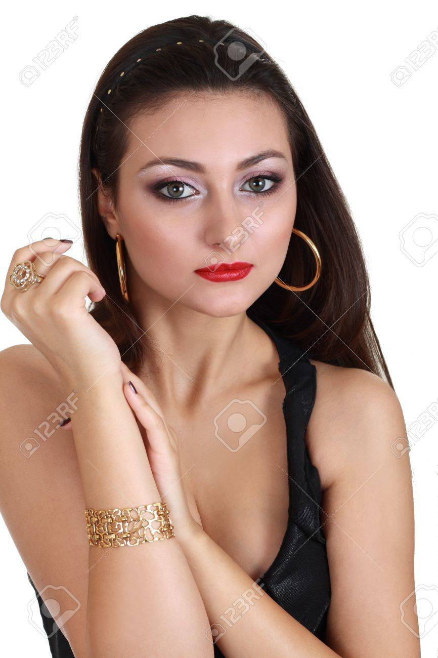 White dress and makeup - Portrait Of Beautiful Woman In Black Dress On White Background Perfect Make Up Stock Photo