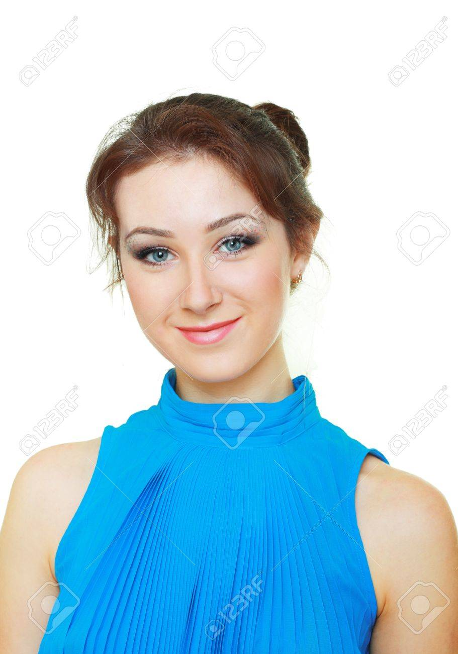 Beautiful young woman smiling with delicate make up in blue shirt isolated on white background Stock Photo - 17067551