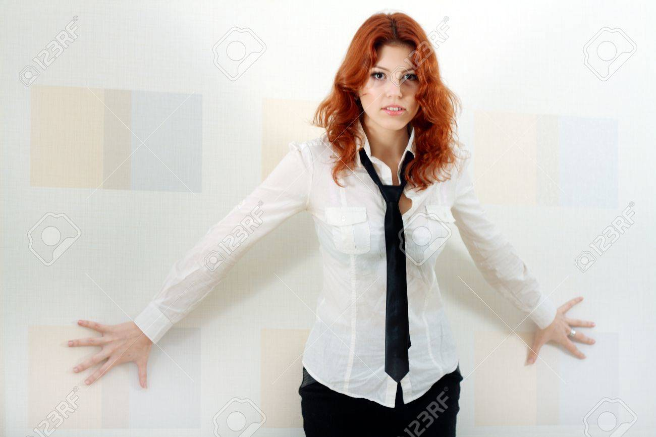 Young And Cute Woman In Formal Dress Like A Secretary With White ...