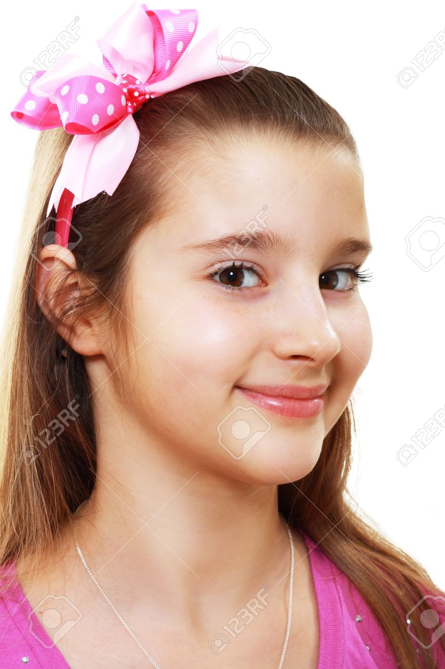 Close Up Portrait Of Beautiful Happy 10 Years Girl Isolated On ...