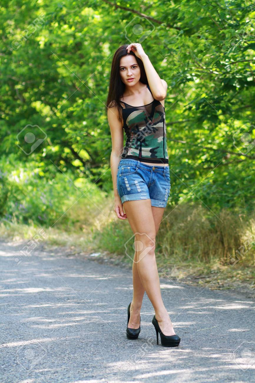 Young Beautiful Sexy Woman Walking On The Road Stock Photo Picture And Royalty Free Image Image 20152878