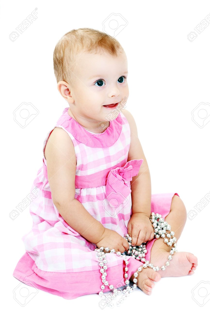 c9d1bde72b41 Portrait Of Very Sweet Little Child 10 Month Old Baby Girl Sitting ...