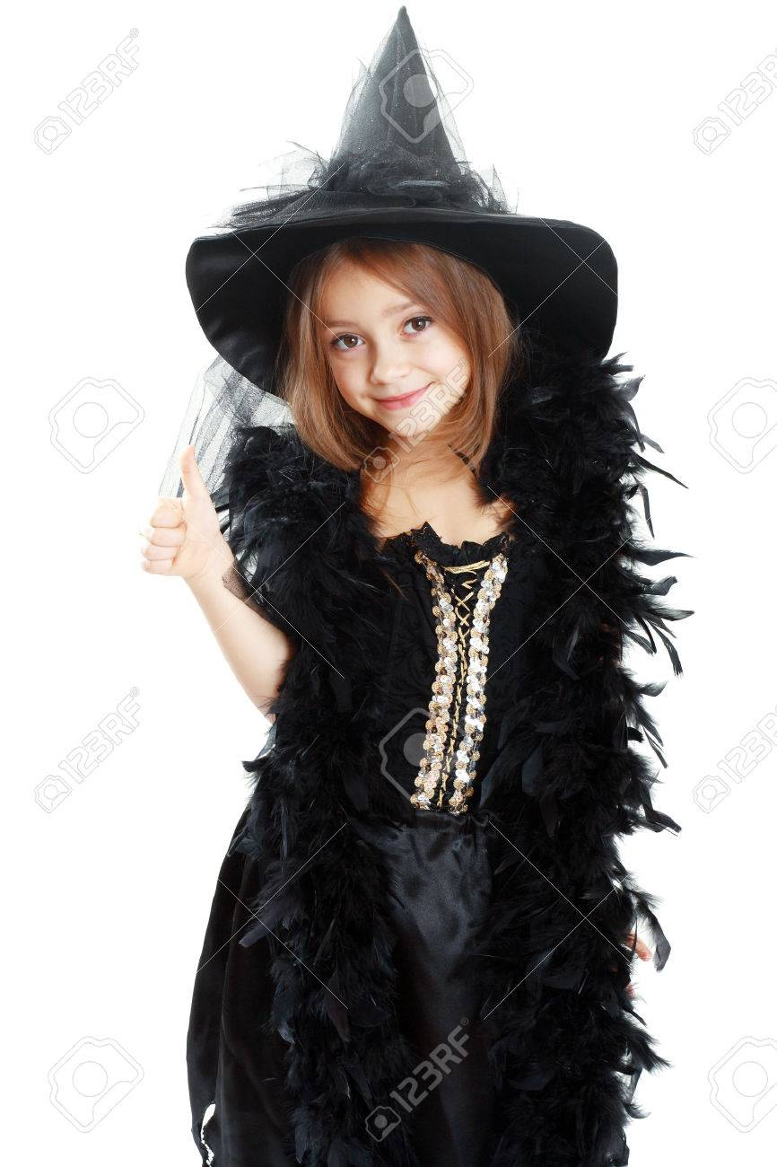 Beautiful Cute Little Girl In Witch Halloween Costume Show Thumb ...