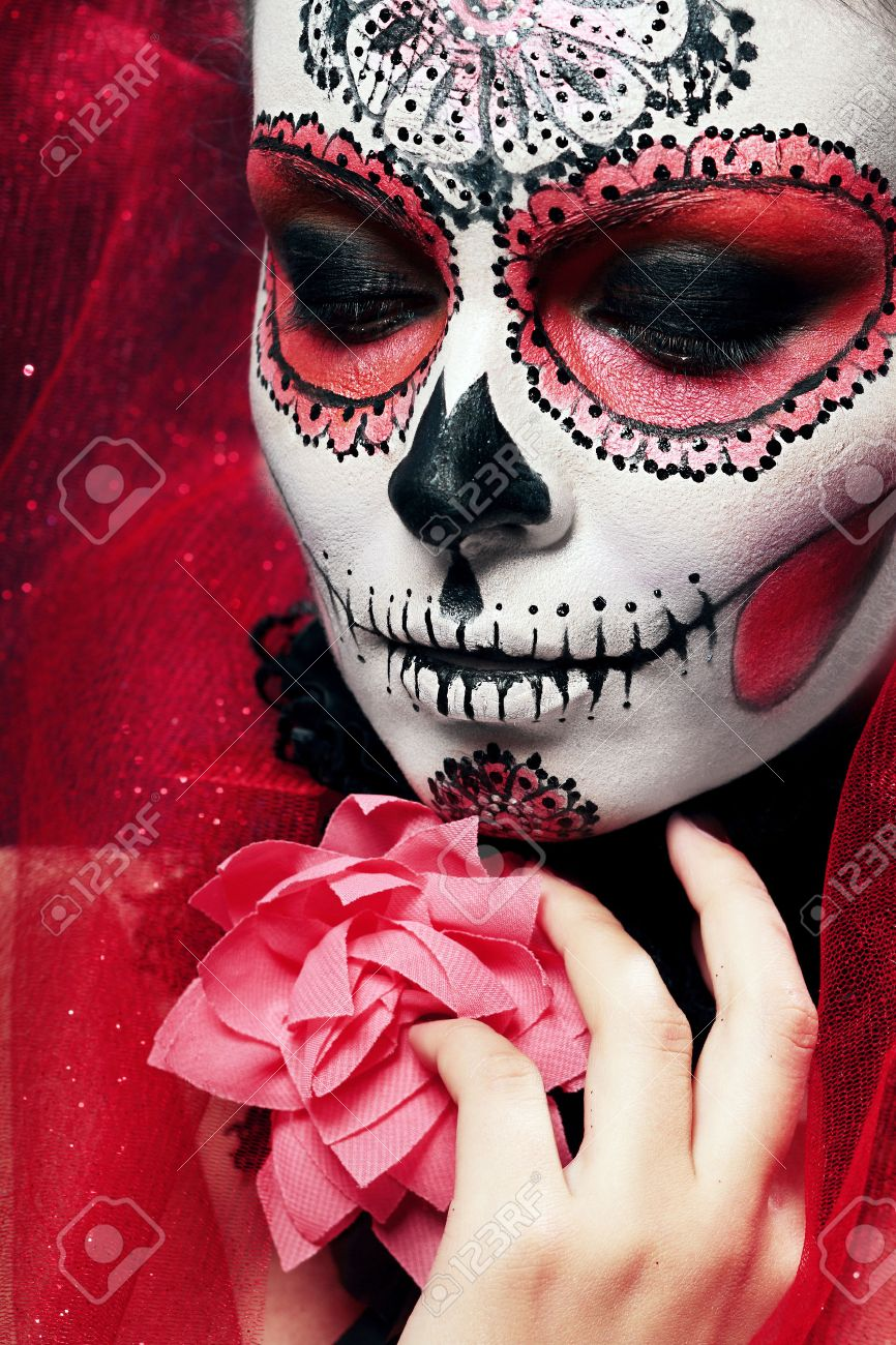 skull mask halloween make up sugar skull beautiful model with perfect hairstyle santa muerte