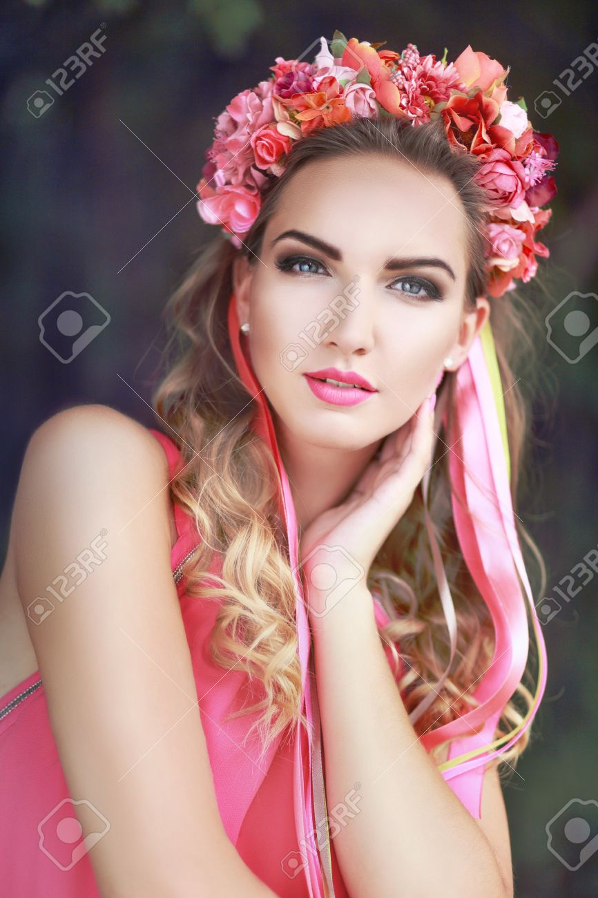 Beautiful Fairy Filtered Image Of Brunette Pretty Girl In Lotus