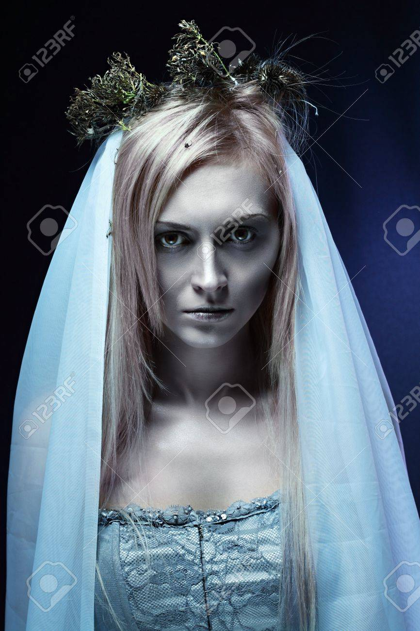 Halloween Bride.Portrait Of Beautiful Zombie Corpse Bride Looked Scary And Standing