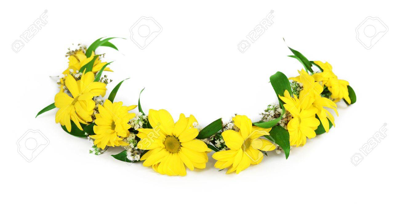 Beautiful yellow Flower Crown isolated on white background Stock Photo -  53258324 a8e9f4ce002