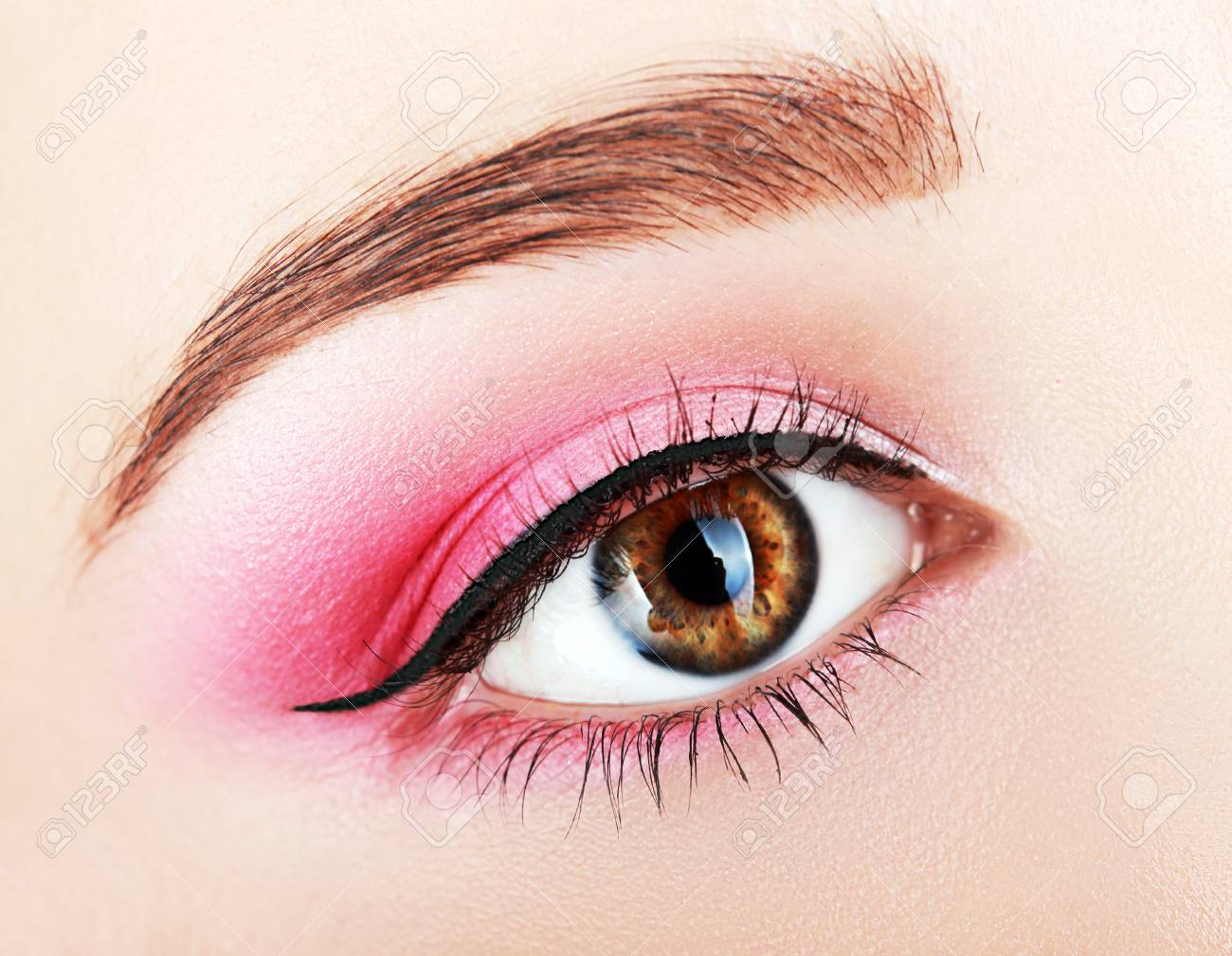Pink Eye Makeup Beautiful Eye Makeup Close Up Stock Photo Picture