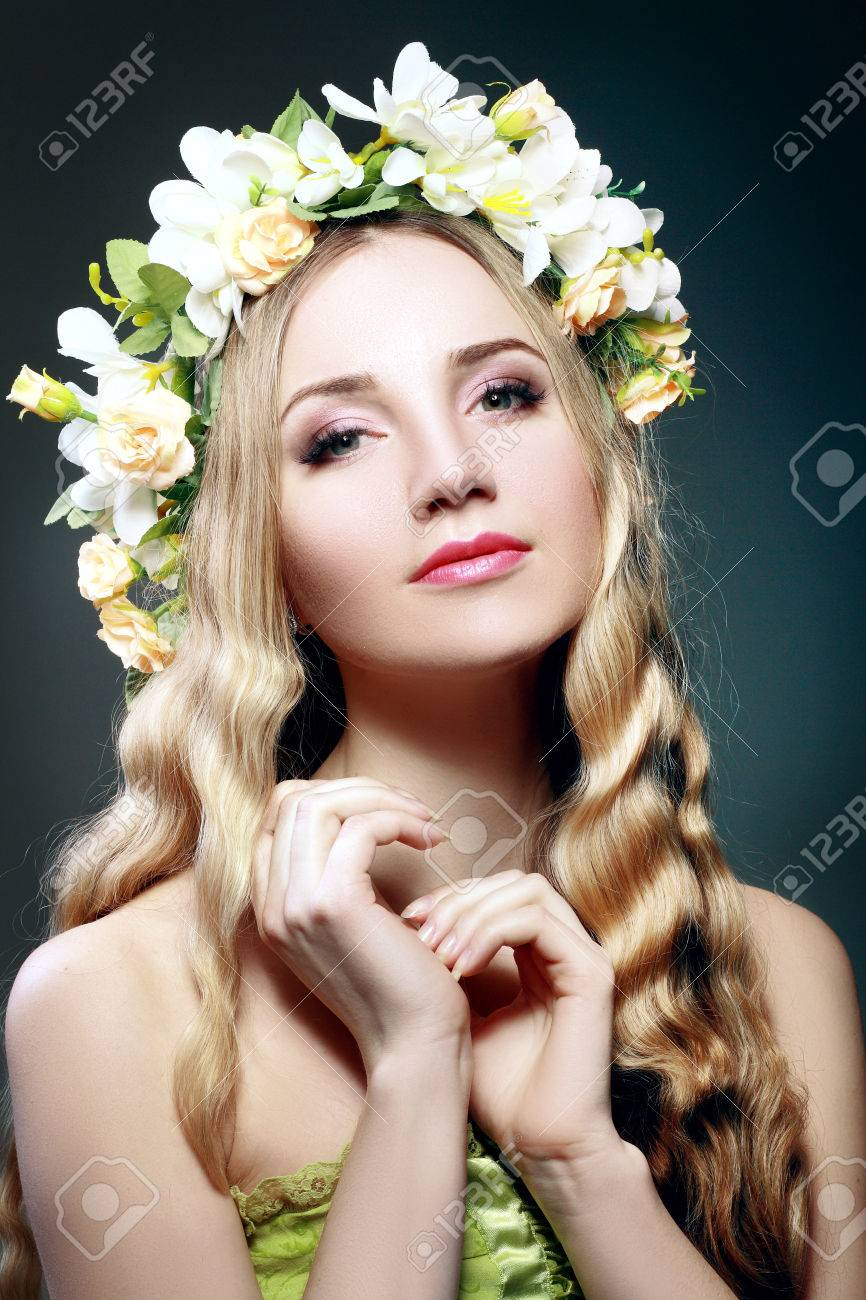 Beautiful woman with flower wreath on her head stock photo picture beautiful woman with flower wreath on her head stock photo 61162979 izmirmasajfo