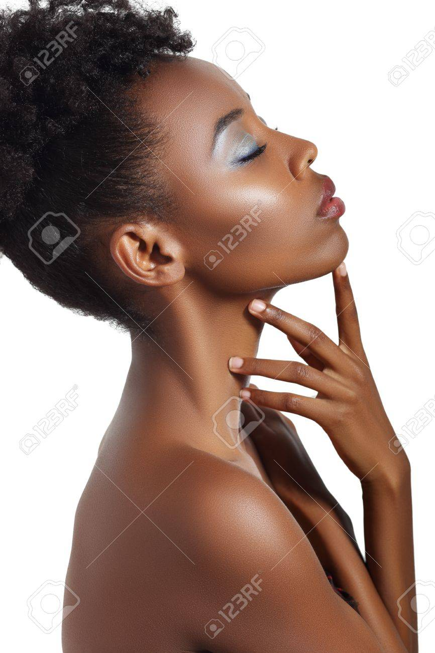 Stunning Beautiful Young African American Black Woman Eyes Closed