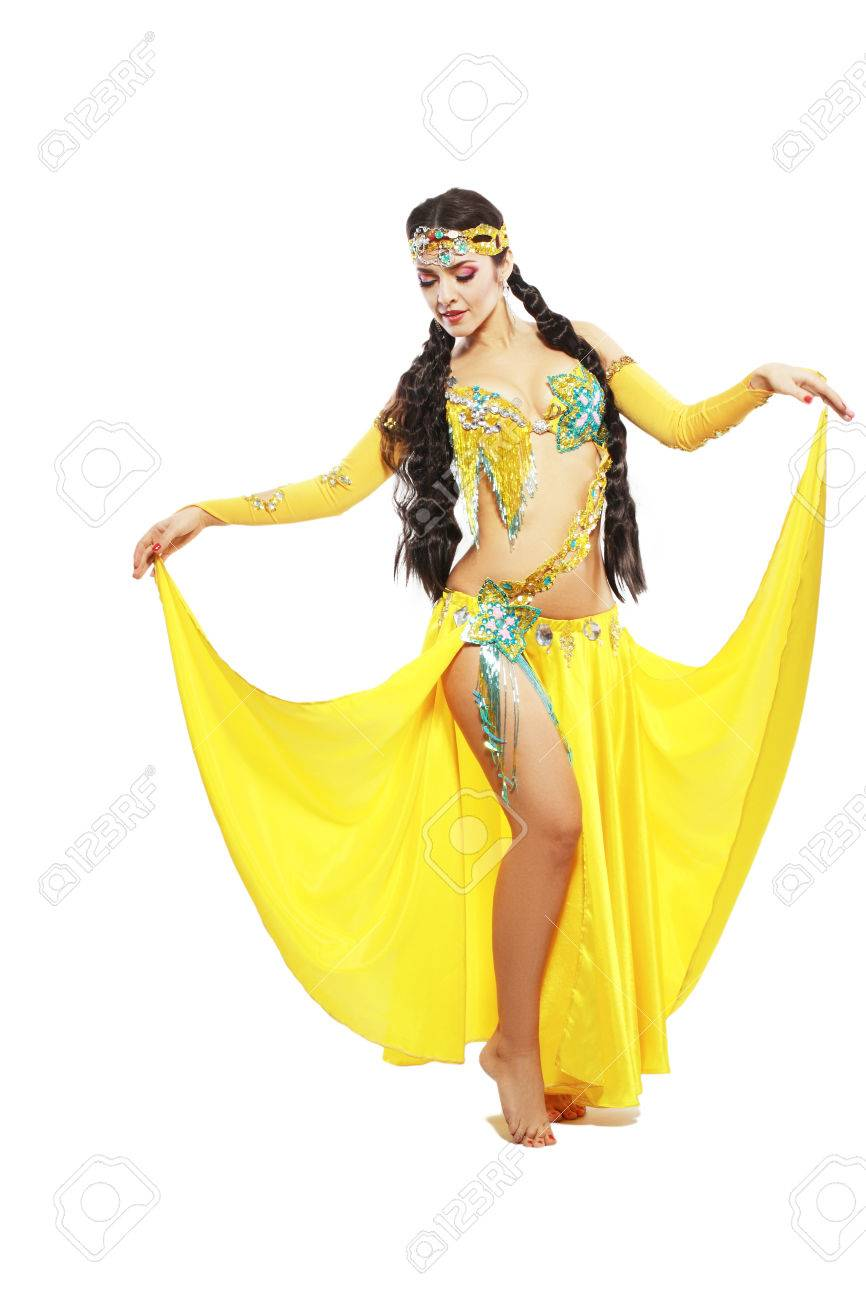 a6c672b08e23a beautiful brunette in the active Arab Belly Dance costume Stock Photo -  66275947