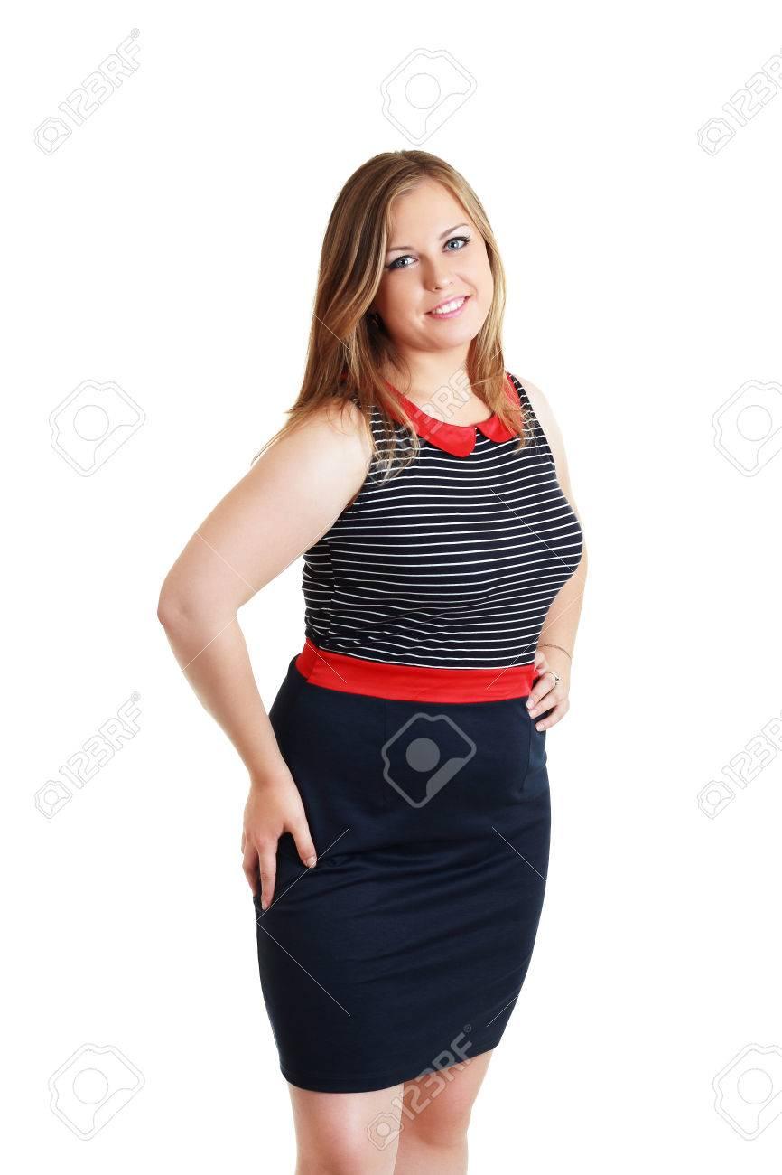 Glücklich Aufgeregt Plus Size Frau Mit Den Händen Im Schwarzen Kleid ...