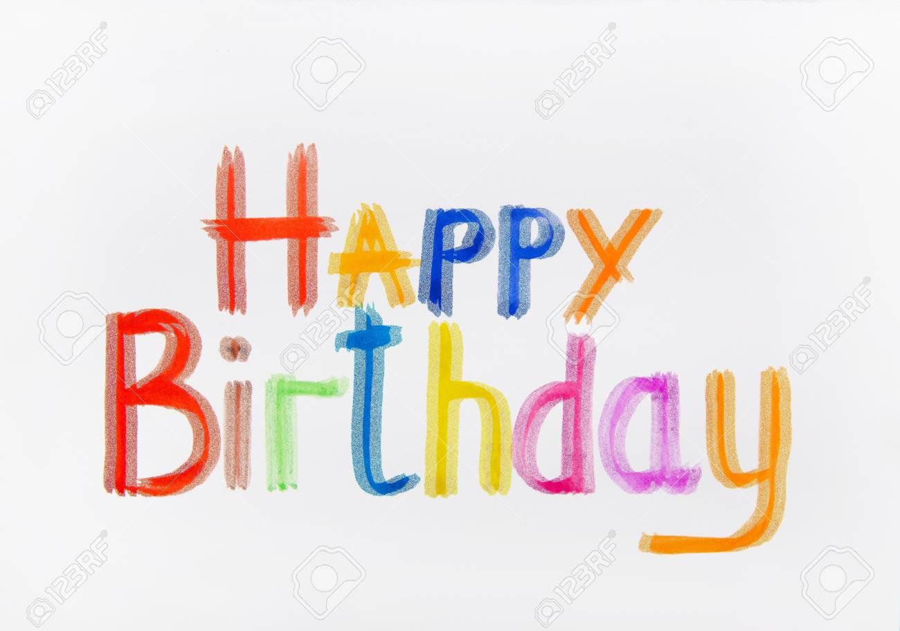 Iscrizioni Multicolore Buon Compleanno Acquerello E Possibile