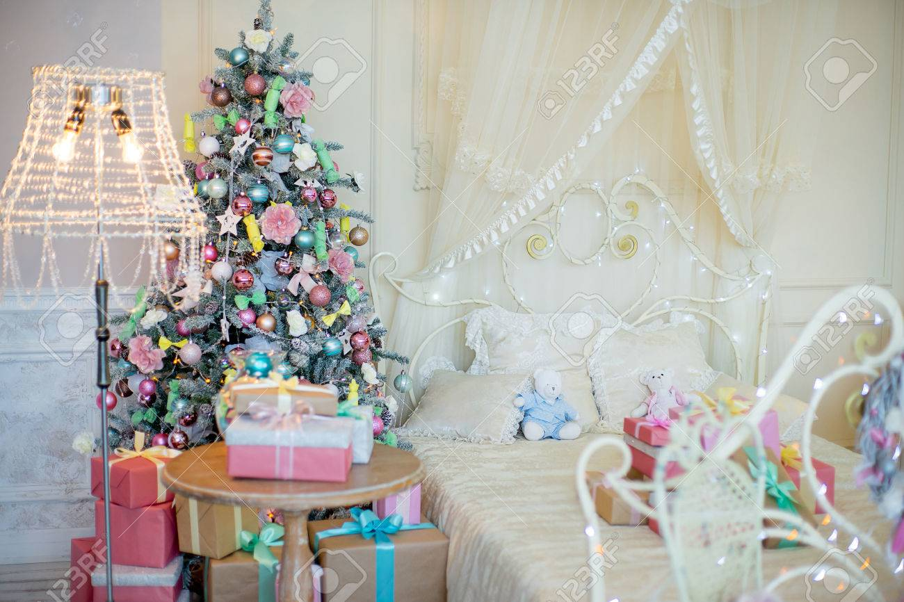 Christmas Tree With Gifts Beside The Bed, Floor Lamp, Wrought ...