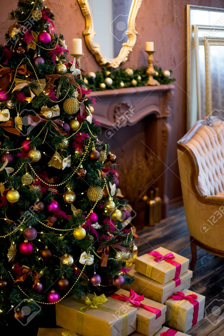 Christmas Tree Mirror Chandelier Christmas Interior In Purple Stock Photo Picture And Royalty Free Image Image 67491022