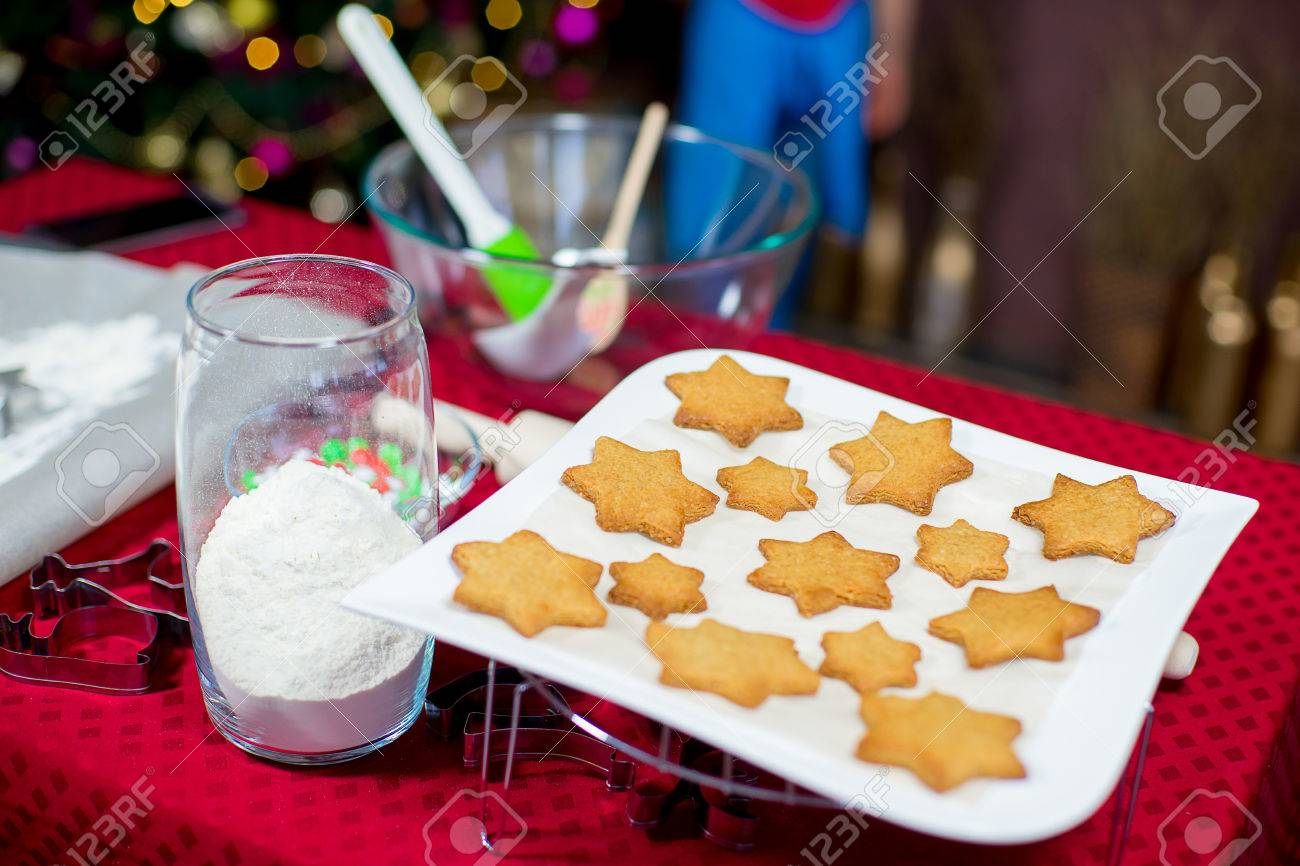 Kids Baking Christmas Cookies Before The Celebration Of Christmas ...