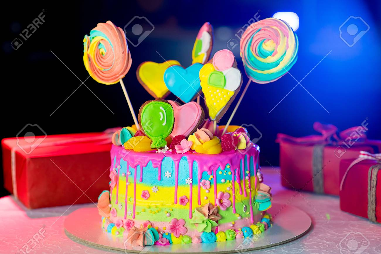 Large Birthday Cake On The Table Stock Photo Picture And Royalty
