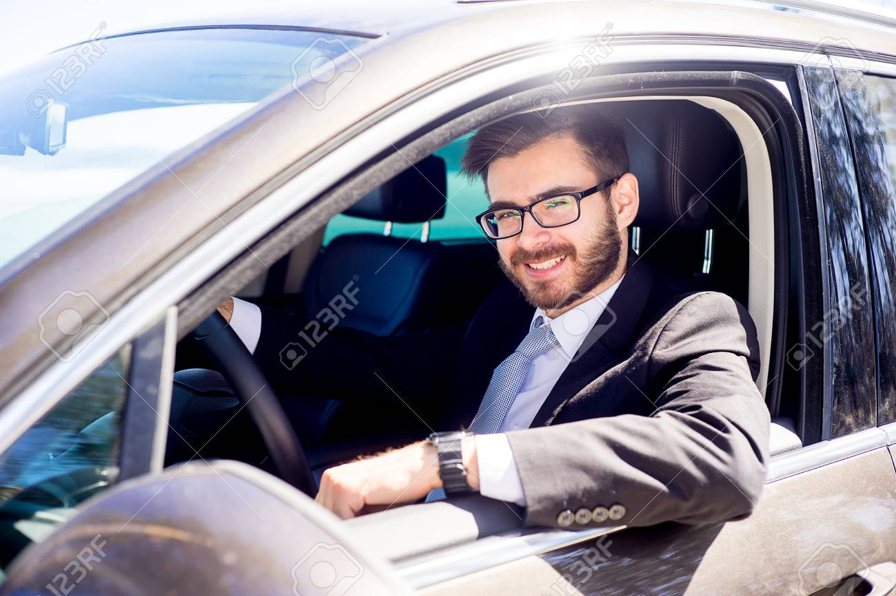 Happy Man Driving A Car Stock Photo, Picture And Royalty Free Image. Image  80506551.