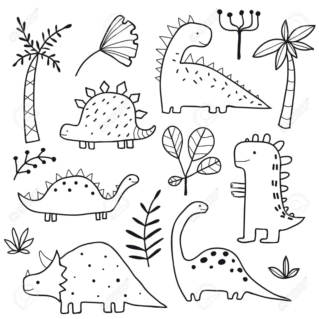Cute Dinosaurs And Tropic Plants Funny Cartoon Dino Collection