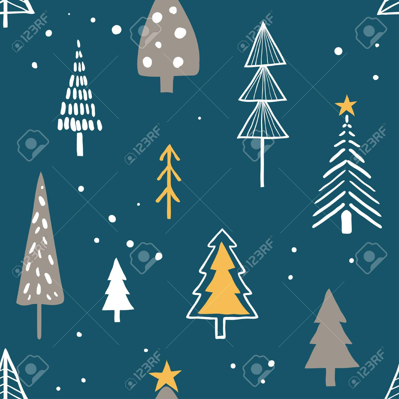 Merry Christmas Seamless Pattern With Simple Minimalist Trees Royalty Free Cliparts Vectors And Stock Illustration Image 114153425