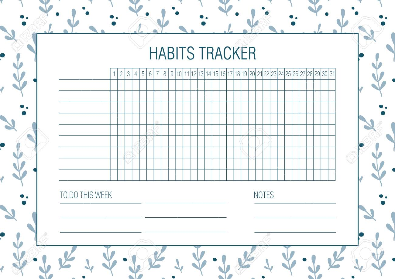 graphic about Bullet Journal Habit Tracker Printable titled Routine tracker blank with Hand drawn floral texture. Bullet magazine..