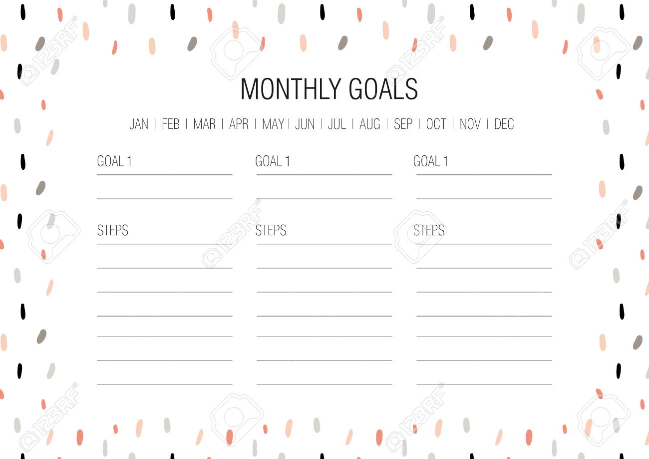 image regarding Monthly Goals Template identify Every month ambitions template. Vector example. Hand drawn texture