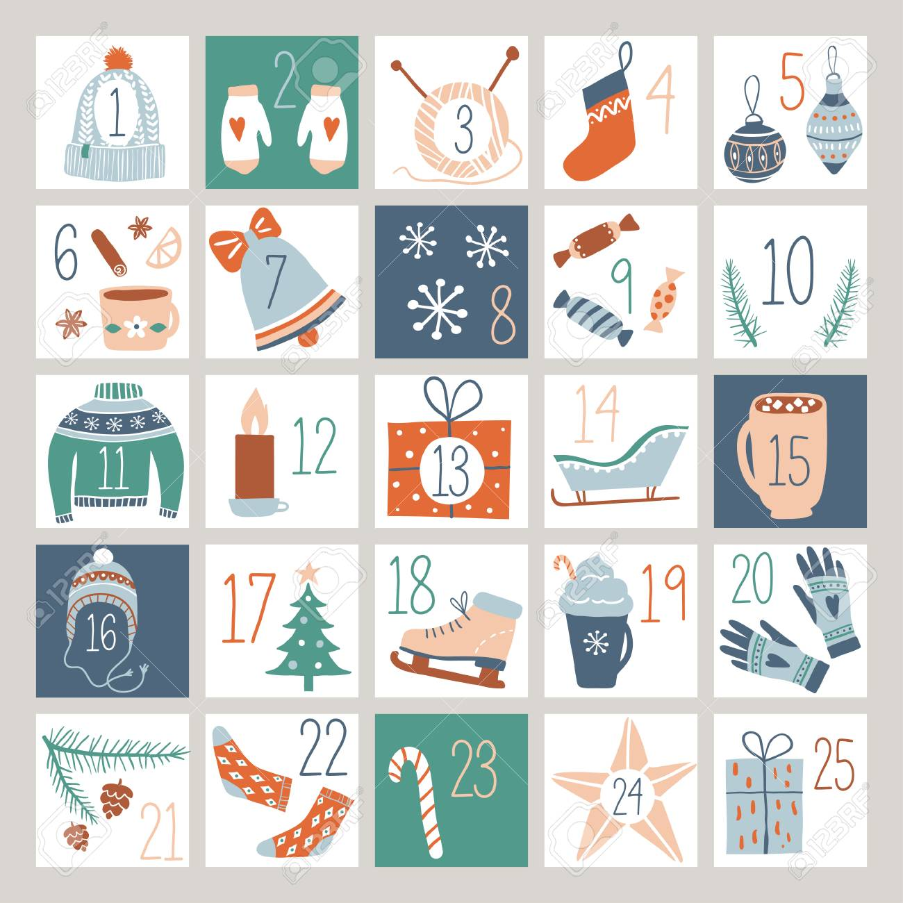image relating to Advent Calendar Printable called Countdown Arrival Calendar or Poster with lovable hand drawn design and style..
