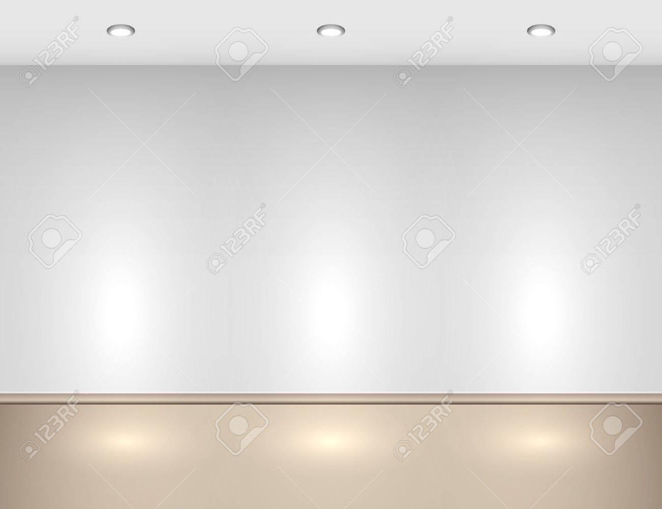 empty interior with halogen lamps stock vector 14433072