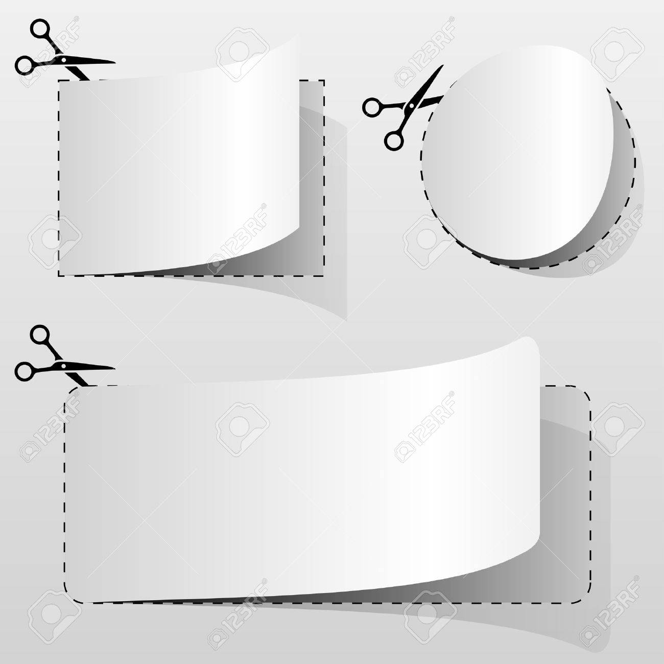 Blank white advertising coupon cut from sheet of paper. Stock Vector - 14491696