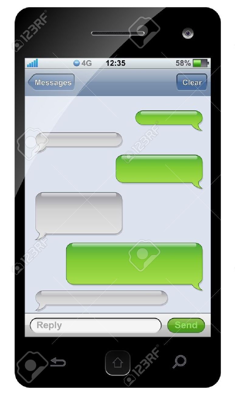 Iphone Text Bubble Clipart Smartphone Sms Chat Template