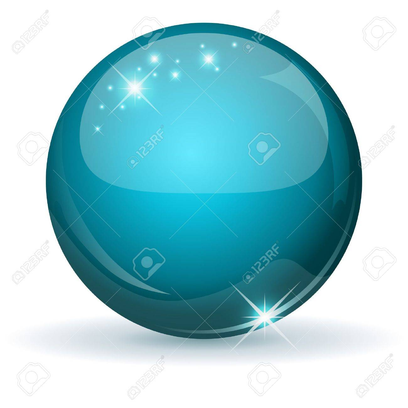 Teal glossy sphere isolated on white Stock Vector - 14576648