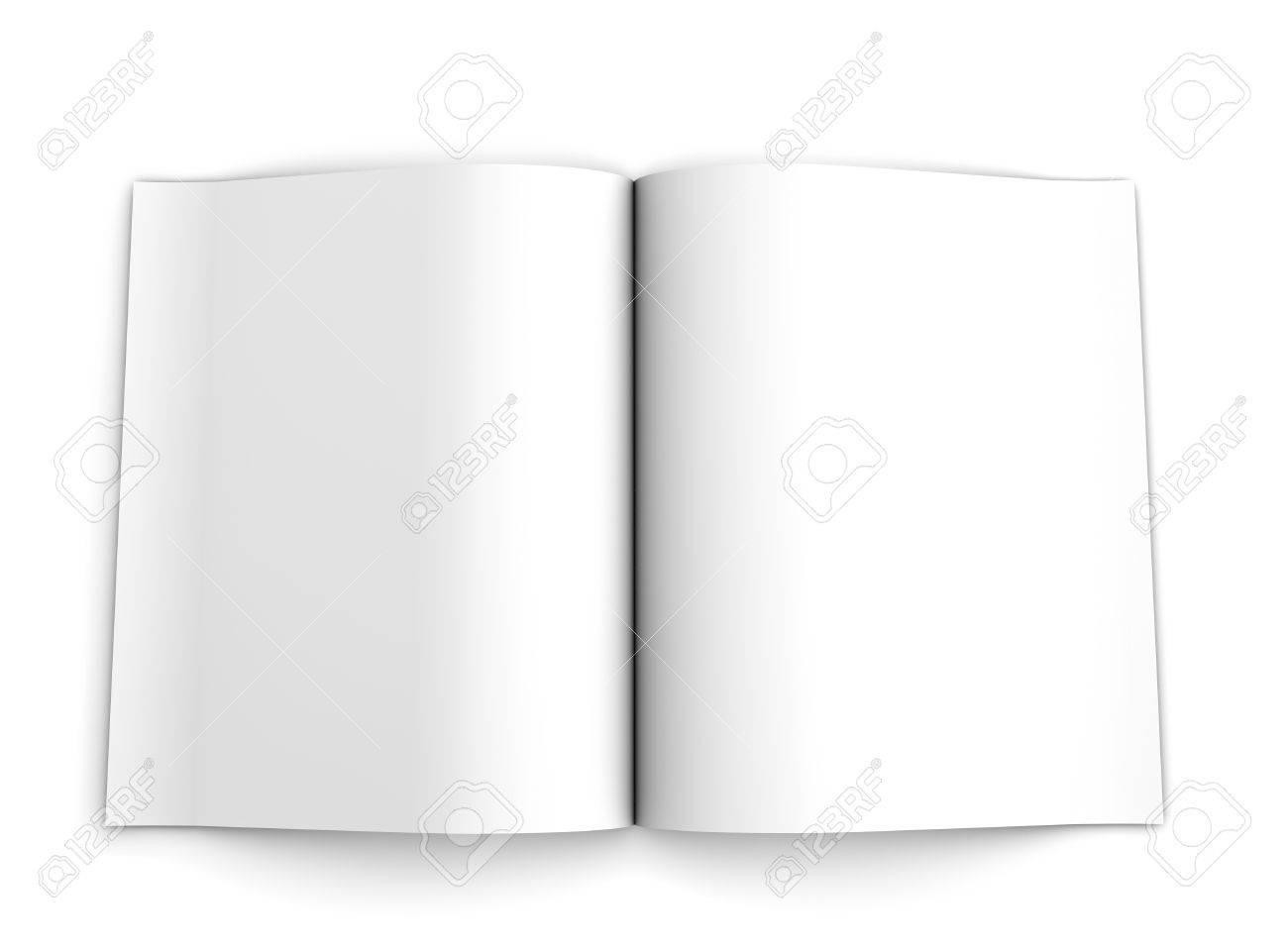 Blank Opened Advertising Folder Viewed From Top Isolated On White ...