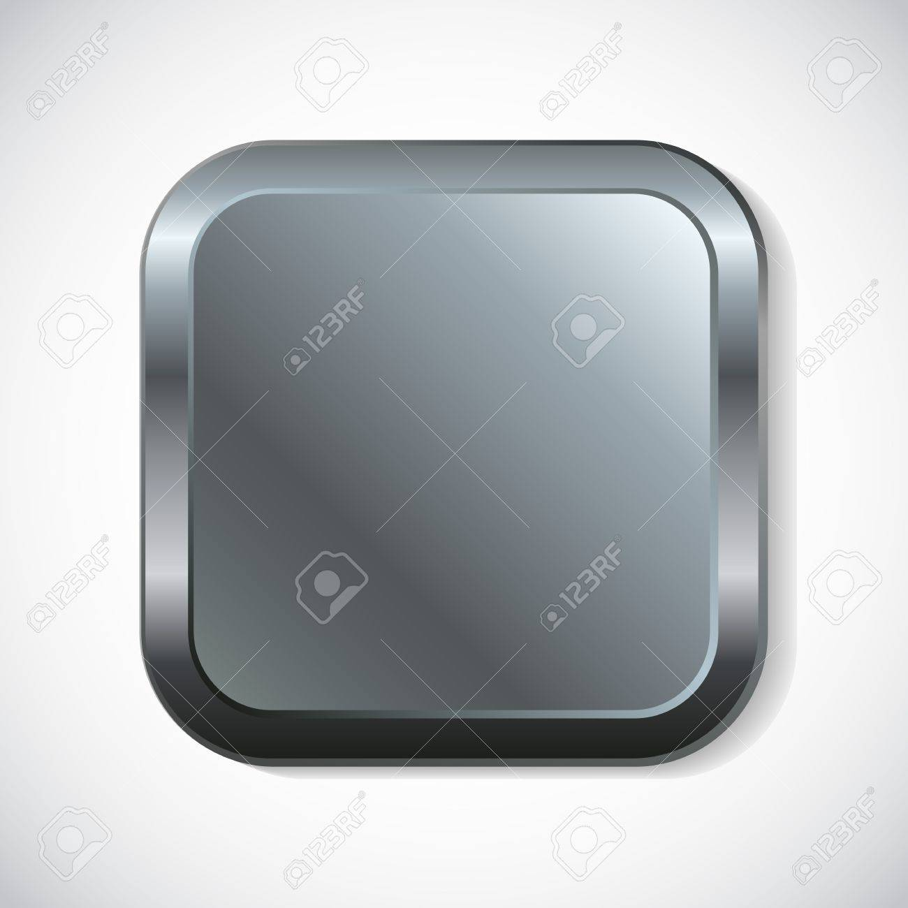 Square metal button with rounded corners Stock Vector - 14907899