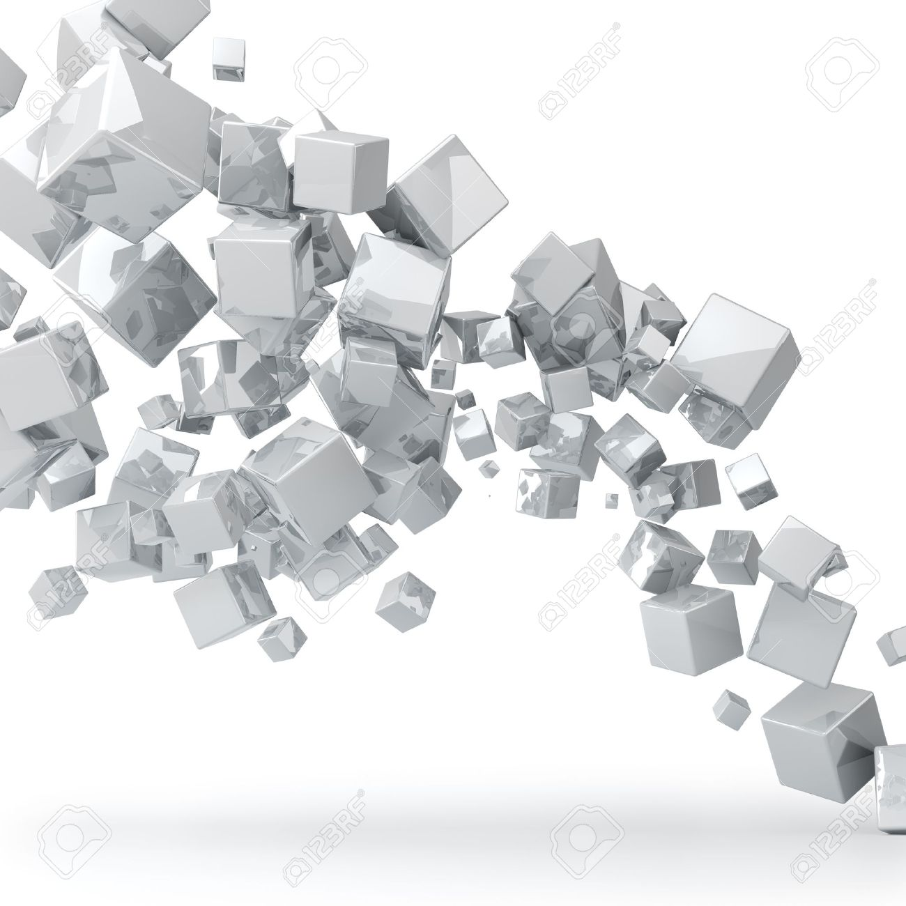 Abstract 3D glossy white cubes background Stock Photo - 14907927