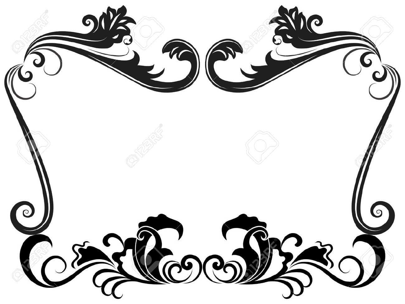 black and white vintage floral frame template royalty free cliparts