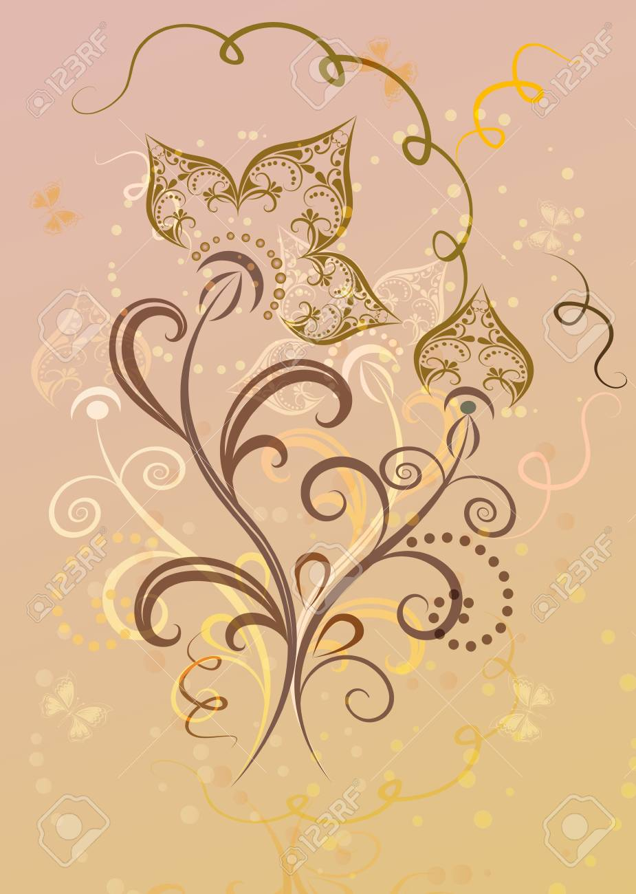 Abstract decorative yellow and pink flower card Stock Vector - 14908231