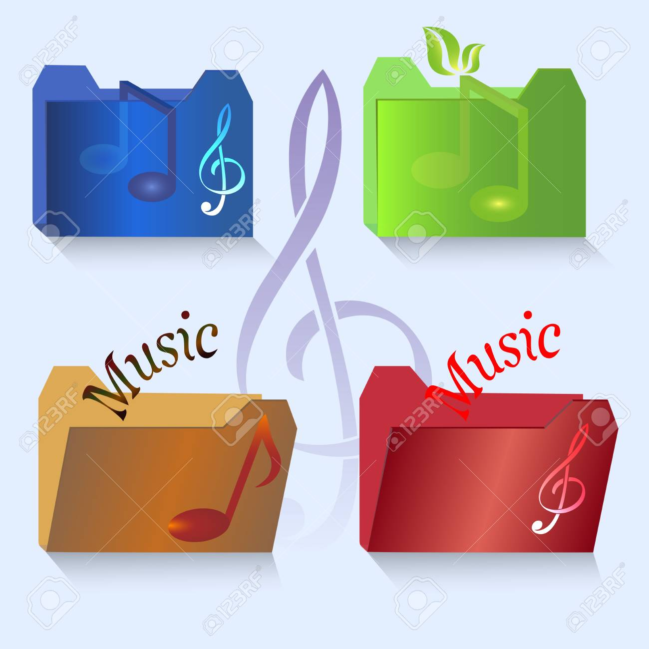 set of color music icons Stock Vector - 15011953