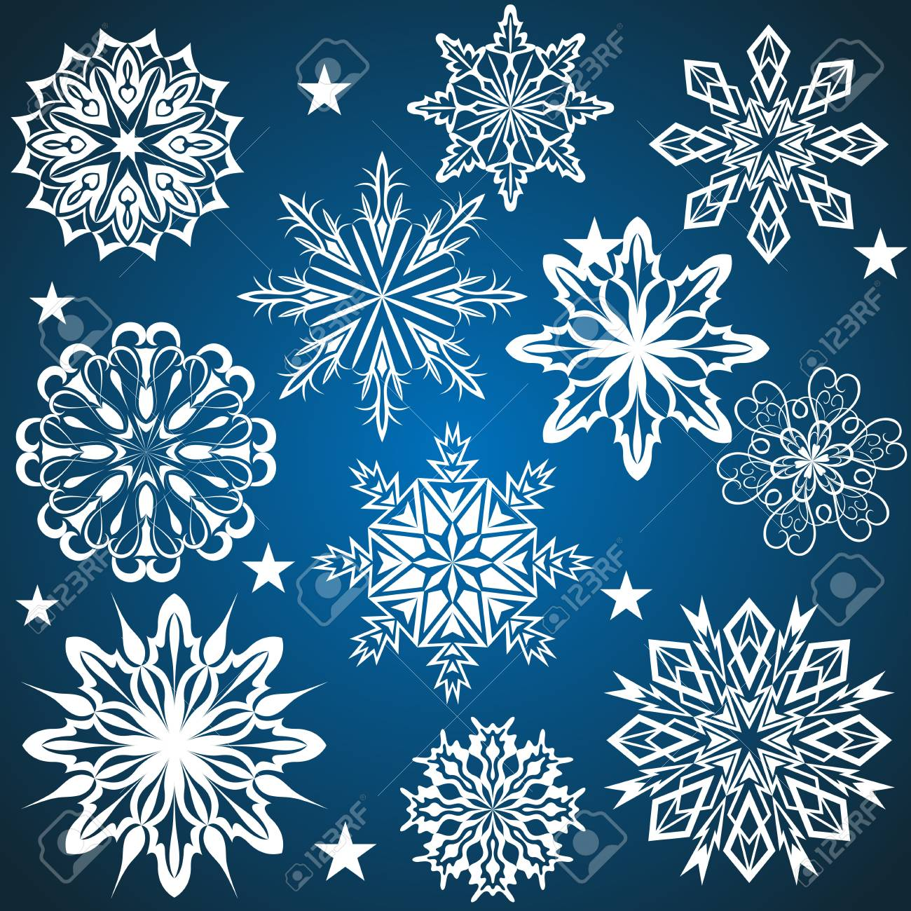 Set of snowflakes isolated on blue background Stock Vector - 15586700