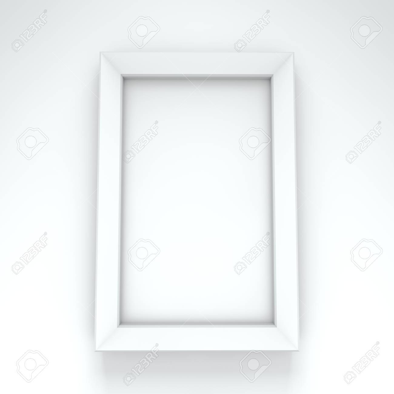 Blank White Frame Hanging On White Wall Stock Photo, Picture And ...