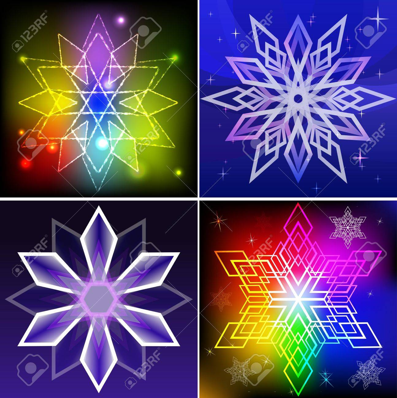 Set of colorful snowflake shapes backgrounds Stock Vector - 15900793