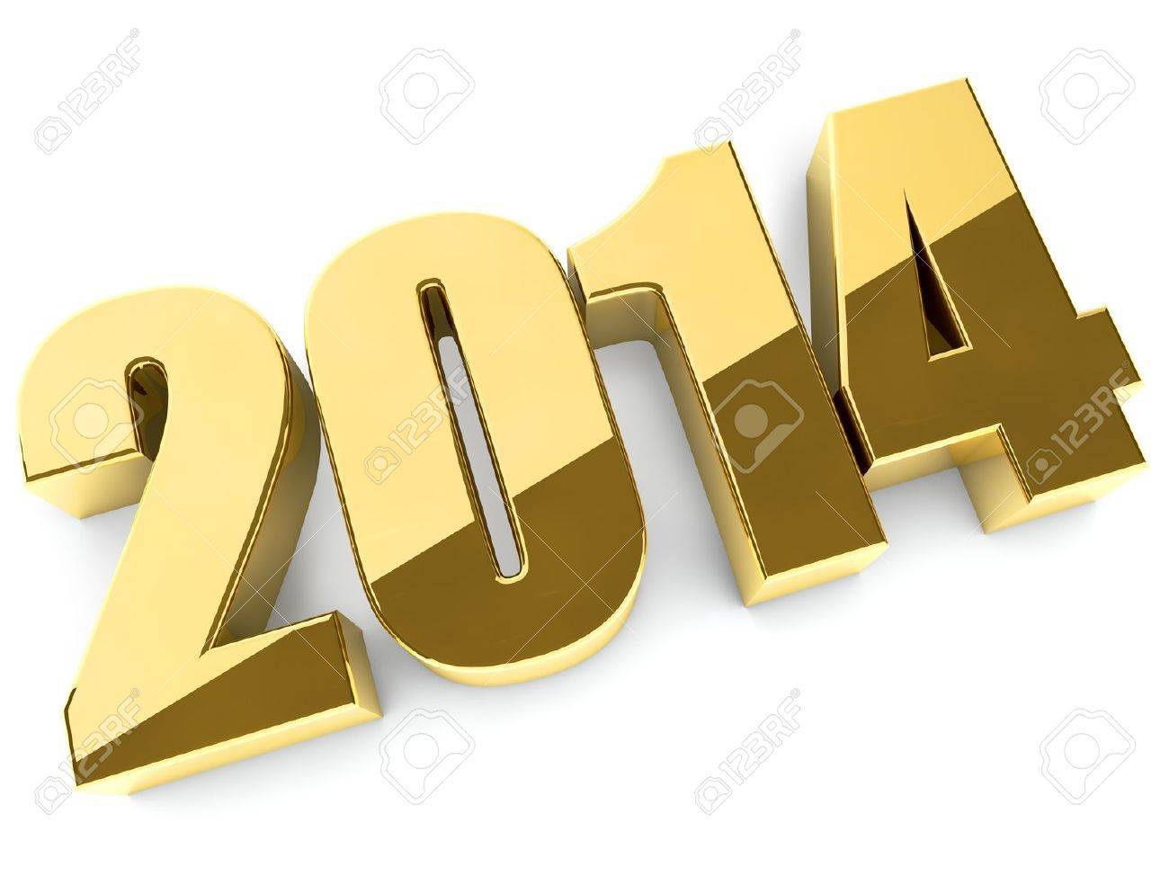 3D 2014 year golden figures with shadow Stock Photo - 17599682