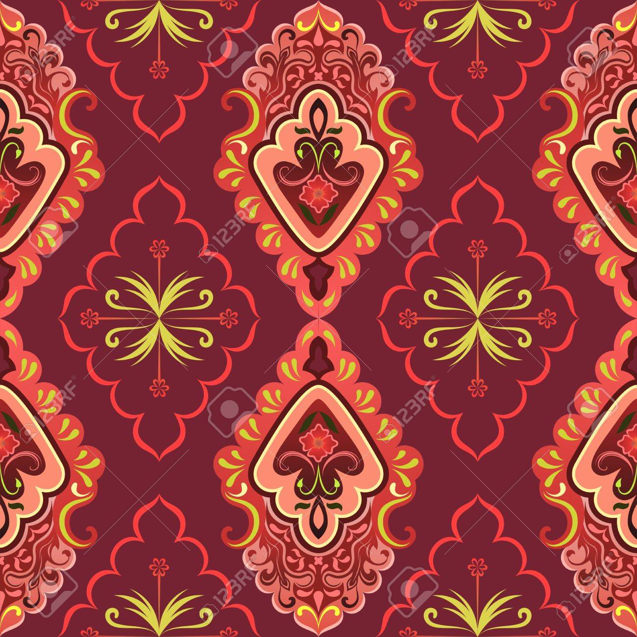 Seamless Red Retro Wallpaper Vector Background