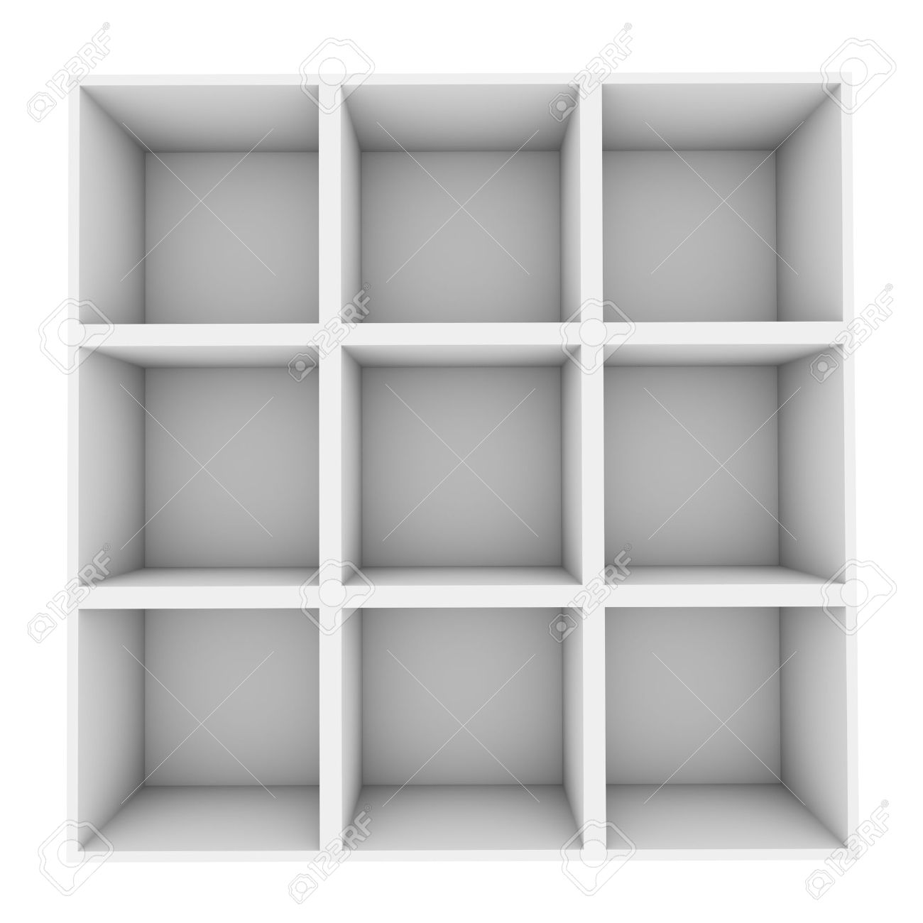 white square shelves isolated on white background stock photo  - stock photo  white square shelves isolated on white background