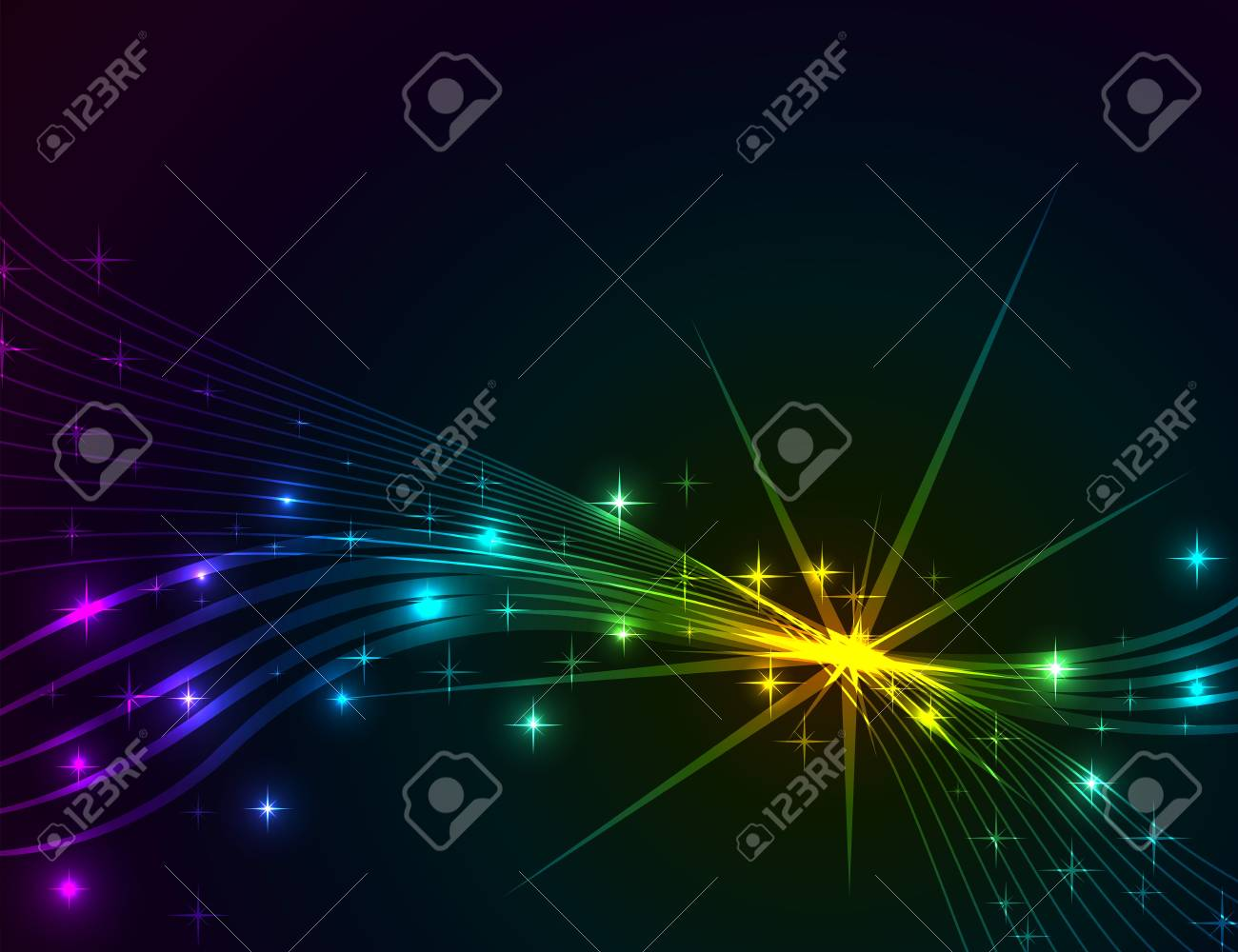 Colorful lights abstract dark vector background Stock Vector - 19883957