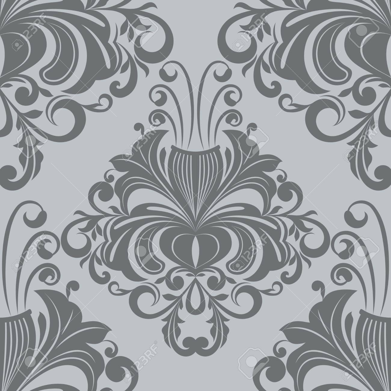 Papier Peint Fleuri Vintage #13: Motif De Papier Peint Fleuri Vintage Gris De Vecteur Banque Du0027images -  21025872