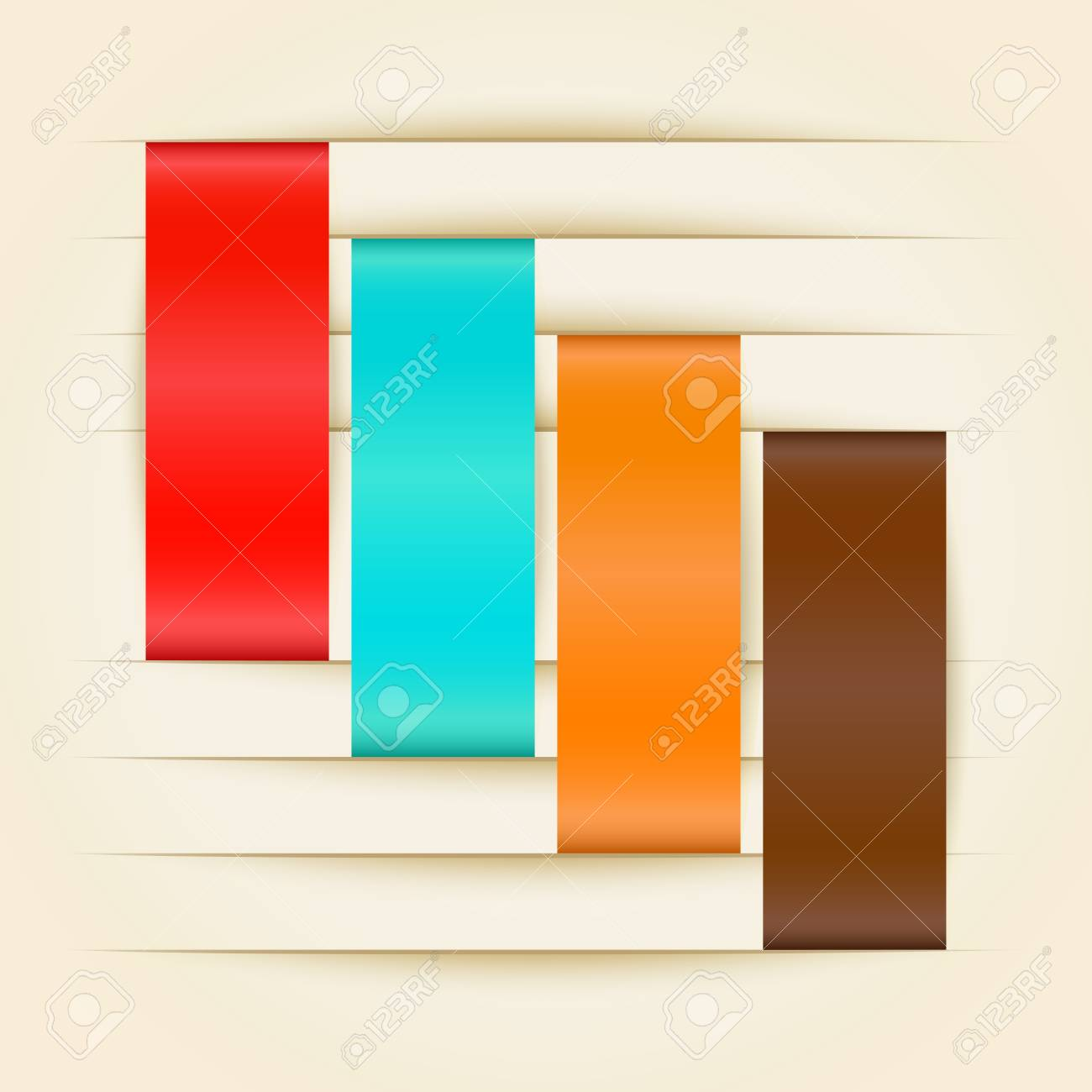Color paper stripes inserted in paper cut vector illustration Stock Vector - 21580469